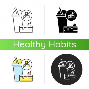 No added sugar icon. Healthy food. Weight loss. Stop overeating. Unhealthy junk food. Nutritious diet. Nourishment and self care. Linear black and RGB color styles. Isolated vector illustrations icon