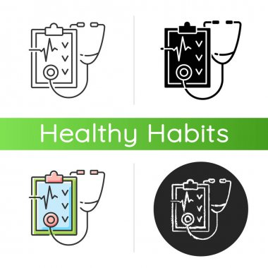 Regular health checkups icon. Hospital check. Clinical examination. Therapist diagnosis report. Visit general practitioner. Linear black and RGB color styles. Isolated vector illustrations icon