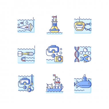 Marine exploration RGB color icons set. Increasing knowledge and understanding of ocean underwater environment. Tools for discovery. Isolated vector illustrations icon
