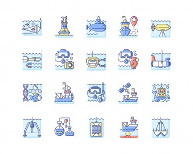 Marine exploration RGB color icons set. Increasing knowledge and understanding of marine animals and nature. Discovering world nature. Isolated vector illustrations icon