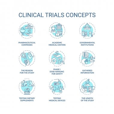Clinical trials concept icons set. Medical studies idea thin line RGB color illustrations. Testing dietary supplements. Academic medical centers. Vector isolated outline drawings. Editable stroke icon