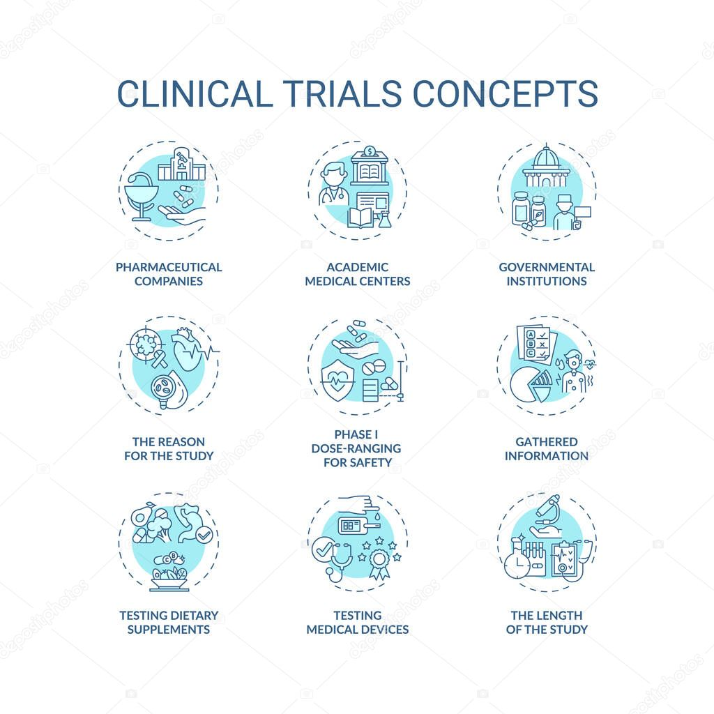 Clinical trials concept icons set icon