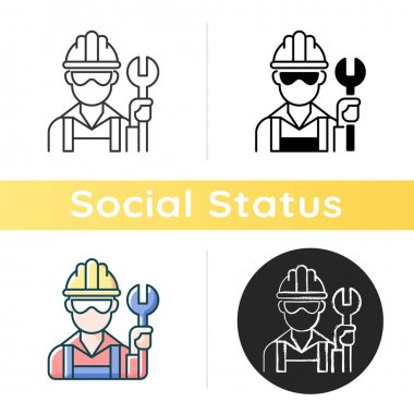 Blue collar worker icon. Repairman with wrench. Mechanic with tool for construction work. Profession, occupation. Social class. Linear black and RGB color styles. Isolated vector illustrations icon
