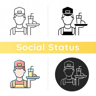 Working poor icon. Waiter holding platter with fast food. Underpaid worker. Part time job. Serving class. Social group. Linear black and RGB color styles. Isolated vector illustrations icon