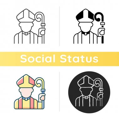 Clergy icon. Male catholic priest. Vatican pope. Religious figure. Christian church pastor. Social class and status. Linear black and RGB color styles. Isolated vector illustrations icon