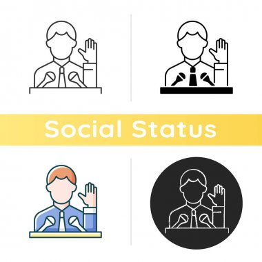 Political elite icon. Public demonstration, speaker from government. Social leadership. High status of influence, power. Linear black and RGB color styles. Isolated vector illustrations icon