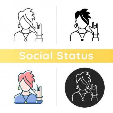 Subcultures icon. Rocker style. Punk clothing on teenager. Adult with goth appearance. Social group, society category. Linear black and RGB color styles. Isolated vector illustrations icon