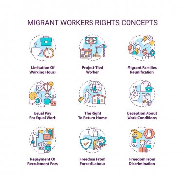 Migrant worker right concept icons set. Limitation of working hours. Project tied. Immigrant labor idea thin line RGB color illustrations. Vector isolated outline drawings. Editable stroke icon