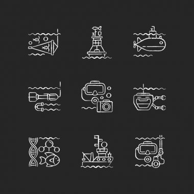 Marine exploration chalk white icons set on black background. Increasing knowledge and understanding of ocean underwater environment. Tools for discovery. Isolated vector chalkboard illustrations icon