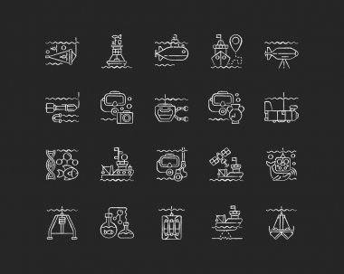 Marine exploration chalk white icons set on black background. Increasing knowledge and understanding of marine animals. Discovering world nature. Isolated vector chalkboard illustrations icon