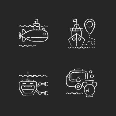 Marine exploration chalk white icons set on black background. Underwater archaeology tools. Ship tracking system. Remotely operated underwater vehicle. Isolated vector chalkboard illustrations icon