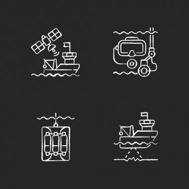 Marine exploration chalk white icons set on black background. Taking water sampler from ocean or sea with use of special equipment. Isolated vector chalkboard illustrations icon