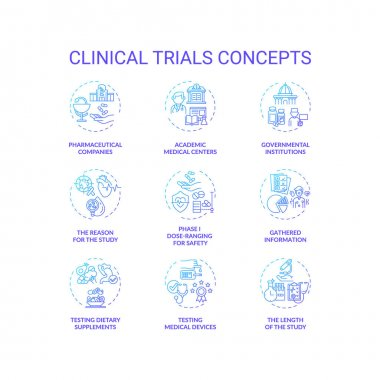 Clinical trials concept icons set. Medical research studies idea thin line RGB color illustrations. Dose-ranging for safety. Testing med devices. Gathered information. Vector isolated outline drawings icon