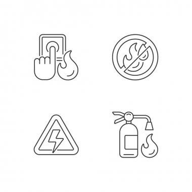 Fire hazards instructions linear icons set. Alarm button. Use no water. Fire extinguisher. Customizable thin line contour symbols. Isolated vector outline illustrations. Editable stroke icon