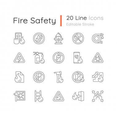 Fire safety linear icons set. Alarm for emergency. Pulaski axe. Risk situation guidelines. Customizable thin line contour symbols. Isolated vector outline illustrations. Editable stroke icon