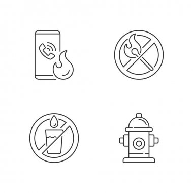 Emergency instructions for fire safety linear icons set. Call in case of emergency. No open flame. Customizable thin line contour symbols. Isolated vector outline illustrations. Editable stroke icon