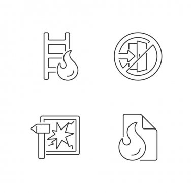 Fire safety regulations linear icons set. Escape ladder. Do not enter. Break glass in case of urgency. Customizable thin line contour symbols. Isolated vector outline illustrations. Editable stroke icon