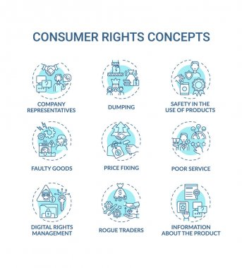 Consumer rights concept icons set. Customers protection idea thin line RGB color illustrations. Company representatives. Dumping. Poor service. Vector isolated outline drawings. Editable stroke icon