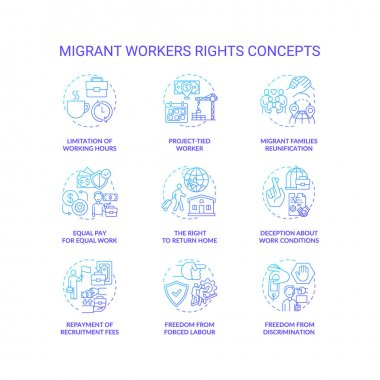 Migrant worker right blue gradient concept icons set. Limitation of working hours. Project tied. Immigrant labor idea thin line RGB color illustrations. Vector isolated outline drawings icon