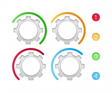 Gears with color line vector infographic elements set. Tutorial presentation template design. Data visualization with 4 steps. Process timeline chart collection. Icons pack for info workflow layout icon