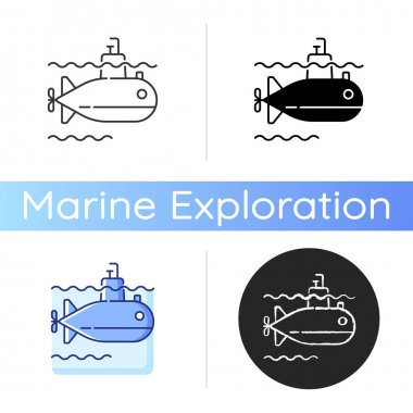Submarine icon. Watercraft capable of independent operation underwater. Special underwater vehicle. Linear black and RGB color styles. Isolated vector illustrations icon