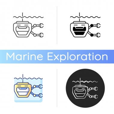 ROV icon. Remotely operated underwater vehicle is tethered underwater highly maneuverable mobile device. Linear black and RGB color styles. Isolated vector illustrations icon