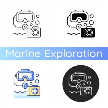 Underwater photography icon. Process of taking photographs while under water usually done while scuba diving. Linear black and RGB color styles. Isolated vector illustrations icon