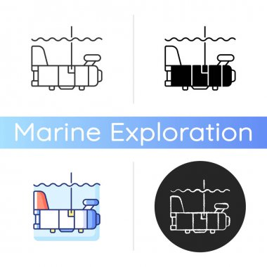 Biomaper icon. Set of sensors on long aluminum frame that resembles tail of airplane. Research vessels. Linear black and RGB color styles. Isolated vector illustrations icon