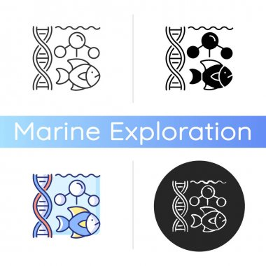 Marine biology icon. Scientific study of marine life and organisms in sea or ocean. Habitats studied in marine biology. Linear black and RGB color styles. Isolated vector illustrations icon