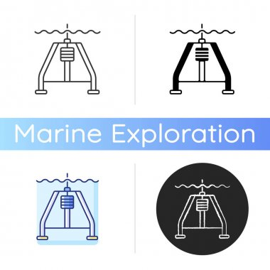 Hydraulically damped gravity corer icon. Instrument used to sample sediments from ocean floor by penetrating sediment slowly. Linear black and RGB color styles. Isolated vector illustrations icon