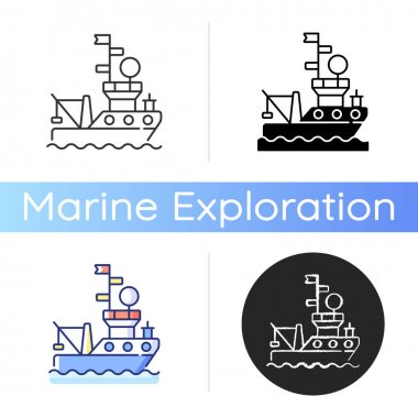 Research vessel icon. Ship or boat designed and equipped to carry out research at sea or ocean. Carry out number of roles. Linear black and RGB color styles. Isolated vector illustrations icon
