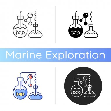 Marine chemistry icon. Field of chemical oceanography studies chemistry of marine environments including influences. Linear black and RGB color styles. Isolated vector illustrations icon