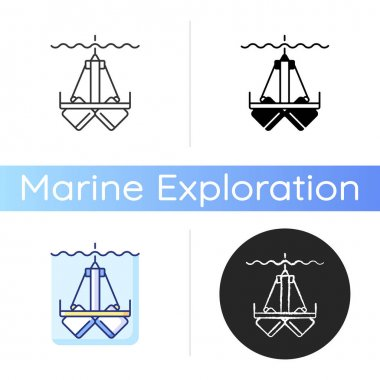 Sediment sampling icon. Clam shell type scoop setup. Extract samples up to 20 centimeters deep within sampling area. Linear black and RGB color styles. Isolated vector illustrations icon