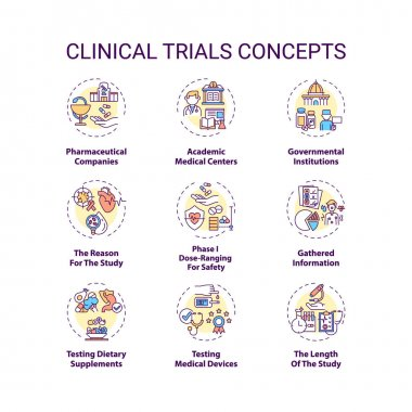 Clinical trials concept icons set. Medical research studies idea thin line RGB color illustrations. Pharmaceutical companies. Phases. Testing drugs. Vector isolated outline drawings. Editable stroke icon
