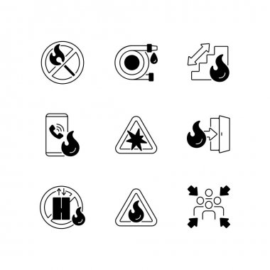 Fire safety guidelines black linear icons set. No open flame. Explosion risk. Escape exit. Do not use elevator. Assembly point. Glyph contour symbols. Vector isolated outline illustrations icon