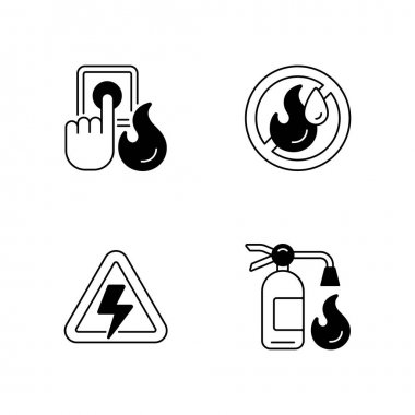 Fire hazards instructions black linear icons set. Alarm button. Use no water. Fire extinguisher. High voltage label. Danger regulation. Glyph contour symbols. Vector isolated outline illustrations icon
