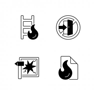 Fire safety regulations black linear icons set. Escape ladder. Break glass in case of urgency. Blanket for flame extinguishing. Glyph contour symbols. Vector isolated outline illustrations icon