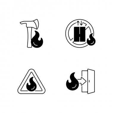 Workplace fire safety black linear icons set. Pulaski axe. Do not use elevator. Flammable substance sign. Emergency exit. Glyph contour symbols. Vector isolated outline illustrations icon