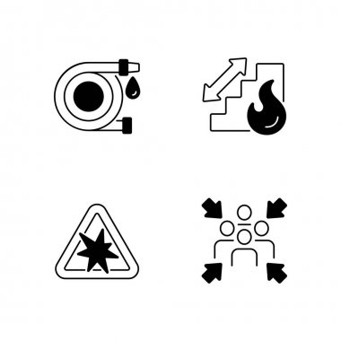 Office fire safety instructions black linear icons set. Water hose. Assembly point. Risk of explosion. Stairs for emergency evacuation. Glyph contour symbols. Vector isolated outline illustrations icon