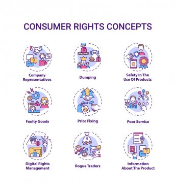 Consumer rights concept icons set. Customers protection from harm idea thin line RGB color illustrations. Safety in products use. Price fixing. Vector isolated outline drawings. Editable stroke icon