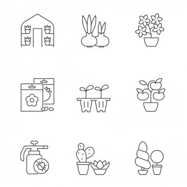 Gardening store categories linear icons set. Seedling trays for growing flowers at home. Customizable thin line contour symbols. Isolated vector outline illustrations. Editable stroke icon