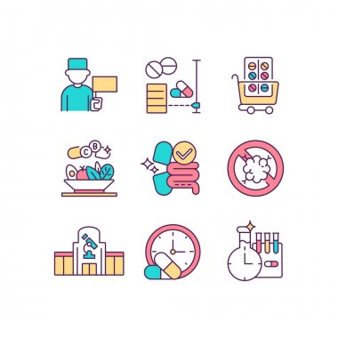 Clinical drugs trial RGB color icons set. Medicine manufacturing. General practitioner. Dietary supplements. Online drugstore. Enhancing digestion. Hospital, clinic. Isolated vector illustrations icon