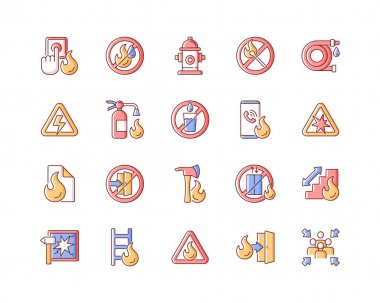 Fire safety RGB color icons set. Alarm for emergency. Do not use drinking water. Pulaski axe. Ladder, stairway ford escape. Warning sign. Risk situation guidelines. Isolated vector illustrations icon