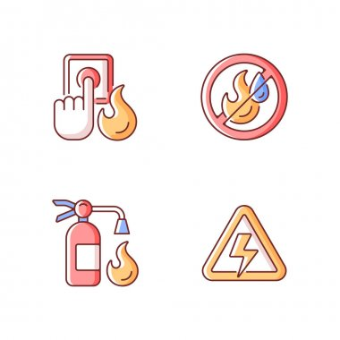 Fire hazards instructions RGB color icons set. Alarm button. Use no water. Fire extinguisher. High voltage label. Hazard regulation and guidance during accidents. Isolated vector illustrations icon