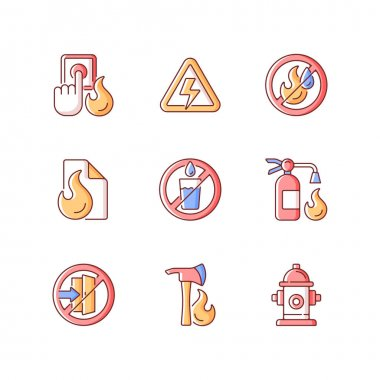 Fire emergency RGB color icons set. Alarm button. High voltage. Use no water. Fire blanket, extinguisher. Do not enter. Pulaski axe. Hydrant for emergency. Isolated vector illustrations icon