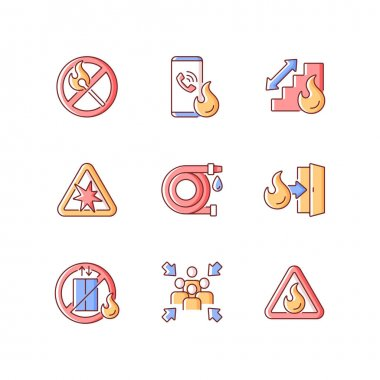 Fire safety guidelines RGB color icons set. No open flame. Explosion risk. Escape exit. Do not use elevator. Assembly point. Flammable sign. Call in case of emergency. Isolated vector illustrations icon