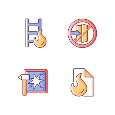 Fire safety regulations RGB color icons set. Escape ladder. Do not enter. Break glass in case of urgency. Blanket for flame extinguishing. Hazard regulation, guidance. Isolated vector illustrations icon