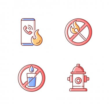 Emergency instructions for fire safety RGB color icons set. Call in case of emergency. No open flame. Not drinking water. Fire hydrant. Hazard regulation and guidance. Isolated vector illustrations icon