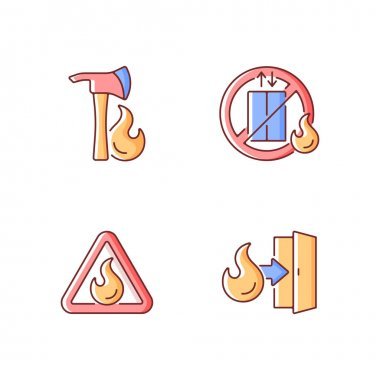 Workplace fire safety RGB color icons set. Pulaski axe. Do not use elevator. Flammable substance sign. Emergency exit. Hazard regulation and guidance. Isolated vector illustrations icon