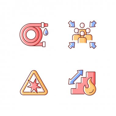 Office fire safety instructions RGB color icons set. Water hose. Assembly point. Risk of explosion. Stairs for emergency evacuation. Hazard regulation and guidance. Isolated vector illustrations icon
